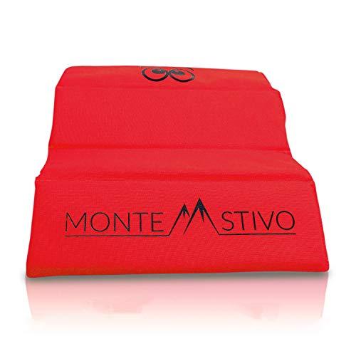 Monte Stivo® Expedition | Outdoor-Sitzmatte 30x40 cm Sitzfläche für Kinder und Erwachsene – 4-Fach faltbar | Zum Wandern (Rot)
