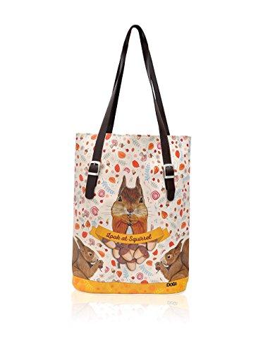 DOGO Damen Look At Squirrel Schultertasche, beige/braun