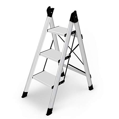 KJZ Multi-purpose Ladders Reinforced Three step Ladders, Folded Step stool Living room Flower stand/book shelf Multifunctional design/42.5 * 69 * 94CM Plant flower stools