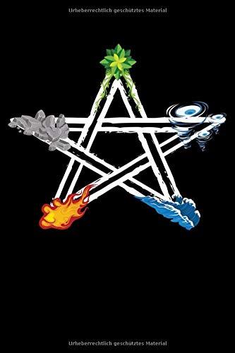 Notizbuch: Wicca Pagan Fünf Elemente Zauberkreis Pentagramm  Notizbuch DIN A5 120 Seiten für Notizen, Zeichnungen, Formeln | Organizer Schreibheft Planer Tagebuch