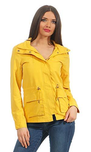 ONLY Damen Parka Übergangsjacke Kurzmantel Kapuzenjacke (42 (Herstellergröße: XL), Yolk Yellow)