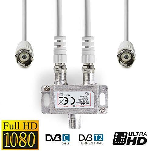 TronicXL Antennenverteiler F-Stecker 5 Meter Kabel Anschluss Set SAT Splitter Verteiler Weiche Splitter 4K 3D HDTV zb für Kabelfernsehen kompatibel mit Unitymedia primacom Sky Vodafone unicable etc