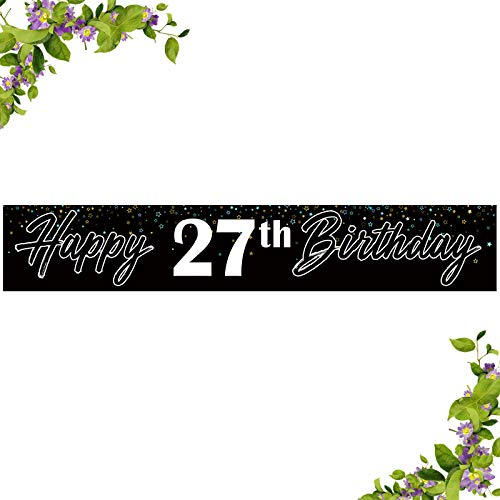 INNORU Happy 27th Birthday Large Banner - Happy 27th Anniversary Bunting - Cheers to 27 Years Birthday Party Outdoor Decoration Supplies (9.8 * 1.6 ft)