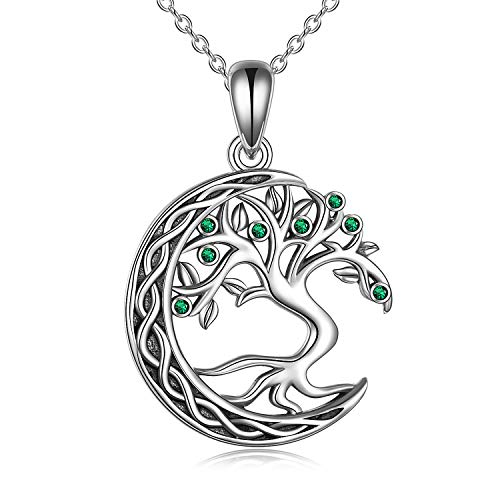 VENACOLY Tree of Life Necklace Moon Necklace Sterling Silver Family Tree Pendant Celtic Jewelry for Women Men