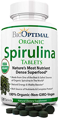 Organic Spirulina Tablets, 100% USDA Organic, Premium Quality 4 Organic Certifications, Non-GMO, No Additives Capsules or Fillers, 120 Count 1 Month Supply