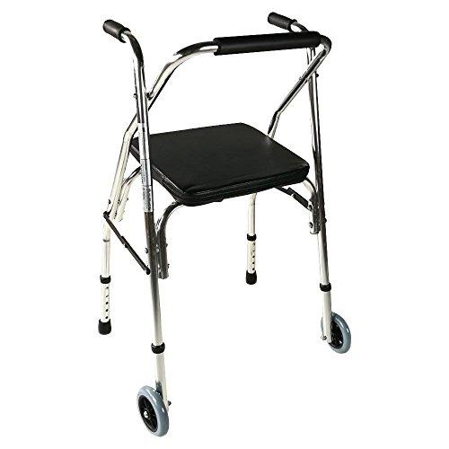 Mobiclinic, Modelo Compostela, Andador para adultos, ancianos, mayores o minusválidos, de acero, ligero, plegable, con asiento y 2 ruedas, Color Plateado