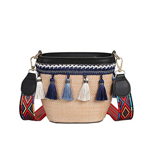 Kaister Frauen Vintage Strand Stroh Tasche Ethnic Style Band Quaste Strandtasche Umhängetasche