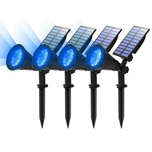 T-SUN Blue Solar Spotlights, 4 LED Outdoor Waterproof Solar Garden Lights, 180°Angle Adjustable Auto ON/Off Solar Wall Lights for Tree, Patio, Yard, Garden, Driveway, Stairs, Pool Area(Blue-4 Pack)