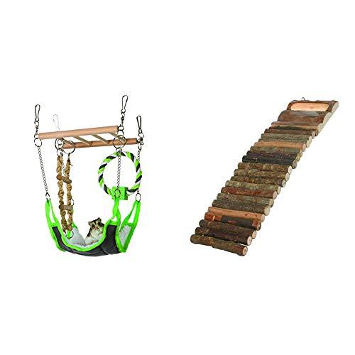 TRIXIE 6298 Hängebrücke, 17 × 22 × 15 cm & 6106 Natural Living Hamsterleiter, 7 × 27 cm