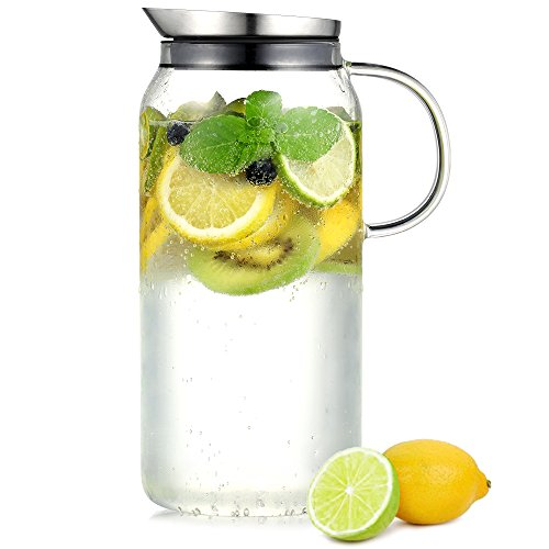 Ecooe Jarra de vidrio 1500ml (capacidad total) jarra de vidrio hecha de vidrio de borosilicato jarra de agua con tapa de acero inoxidable jarra jarra de vidrio