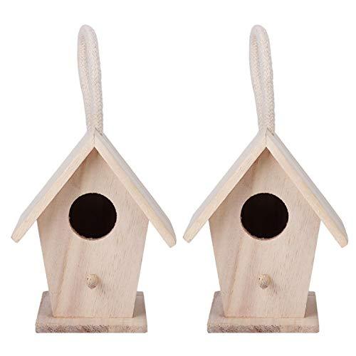 Casita para pájaros Casa de Madera para pájaros Caja de Nido Colgante para jardín al Aire Libre Accesorios Decorativos para Patio 2PCS