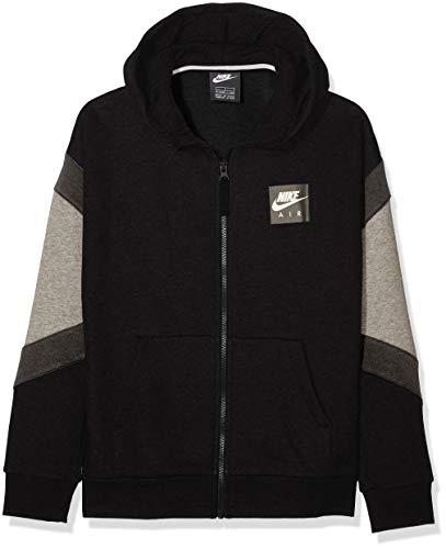 Nike Jungen B Nk Air Hoodie Fz Sportkapuzenpullover, Schwarz (Black/Carbon Heather/Anthracite/Black 010), 122 (Herstellergröße: X-Small)