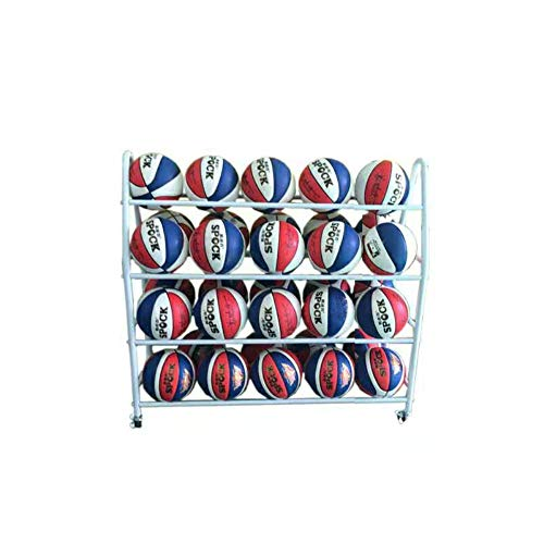 Basketball Racks for Balls with Wheels,Iron Basketball Cart Basketball Rack Holder,Garage Ball Rack Sports Ball Storage Rack,Basketball Storage Sports Organizer(White,4-Tier,35 Balls)