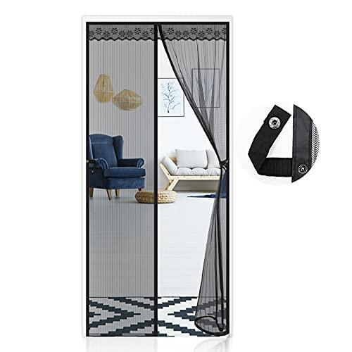 Fliegengitter Tür Magnet 90X210CM, Insektenschutz Tür, Automatisches Schließen Magnet Fliegenvorhang Moskitonetz Tür für Balkontür Wohnzimmer Terrassentür, Ohne Bohren - Schwarz
