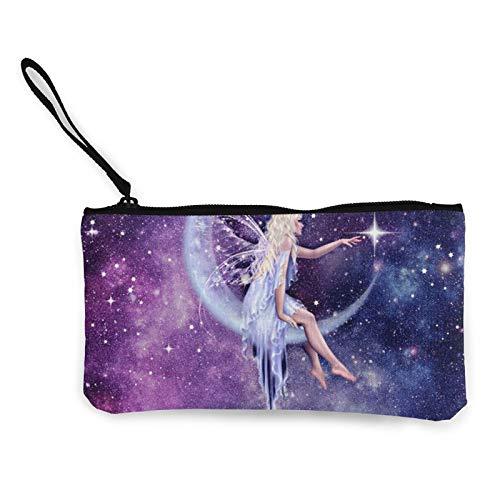 Moneda de lona, bolso de ángel estrellado con cremallera, bolsa de cosméticos de viaje multifunción, bolsa de maquillaje para teléfono móvil, paquete de lápices con asa