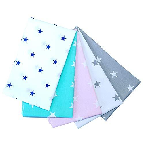 4L Textil Baumwollstoff 100% 5 Stück 50x50cm Stoffpakete Patchwork Baumwolle Stoffe zum nähen für Kinder Nähstoffe Kinderstoff Tuch DIY Handgefertigte Mehrfarbig (01)