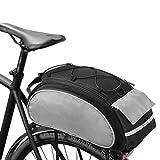 ROSWHEEL サイクリング バッグ 自転車 バスケット マウンテン バイクパニエ ダウンヒル ラック トランク ショルダー ハンドバッグ 自転車 バックパック 13L ブラック