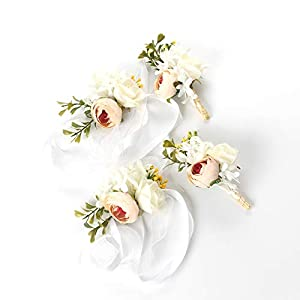 Silk Flower Arrangements Easin 2PCS Corsage and 2PCS Boutonniere A Set, Handcrafted Boutonniere for Men Wedding Artificial Groom Bride Bridesmaid Corsage Flowers with Pin for Wedding Prom Party (Champagne)