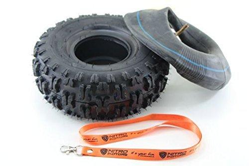 Nitro Motors Reifen mit Schlauch für Quads 4.10-4 Tyre X Profil Pocket Dirt Bike Quad + Gratis Schlüsselanhänger Lanyard