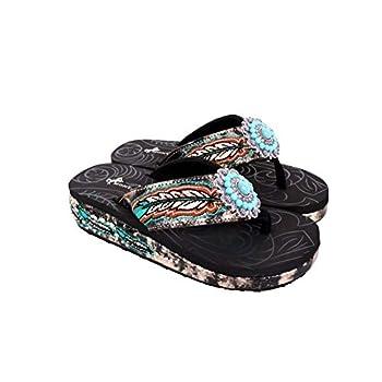 Montana West Rhinestone Sandals Comfort Thong Flip Flops for Women Embroidered Western Wedge Sandals Black Size 8 SEF05-S096 BK8
