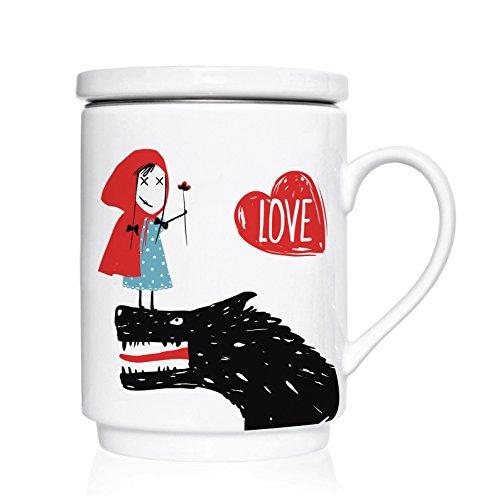 We Love Home - Taza de té de porcelana con tapa + filtro metálico inox 25 cl. estilo nórdico modelo Little Red Love