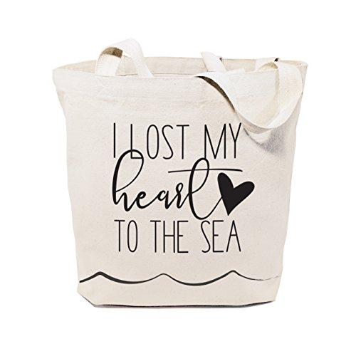 The Cotton & Canvas Co. Beach, supermercado, mercado de agricultores, compras e viagens, bolsa de ombro e bolsa de mão reutilizáveis..., I Lost My Heart to the Sea, Large