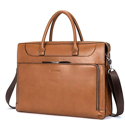 BOSTANTEN Damen Leder Aktentaschen 15.6 Zoll Laptoptaschen Businesstasche Schultertaschen Henkeltasche Braun