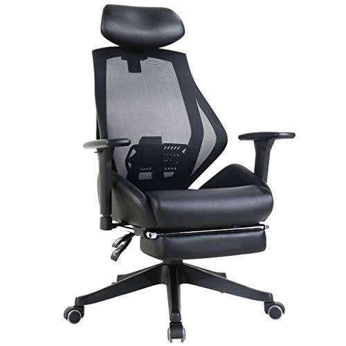 Comif- Grid + lederen bureaustoel, Ergonomische computer Mesh stoel, hoogte aanpassing, fijne aanpassing Lumbar kussen/Lumbar ondersteuning, Swivel hoofdsteun (zwart)