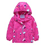Girls' Jackets Waterproof Fleece Lined with Hood Raincoats Cute Red 4T