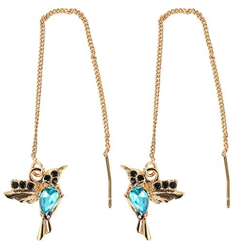 Taloit Pendientes colgantes de colibrí con diamantes de imitación para mujer, pendientes de pájaro 3D, accesorio elegante para fiestas, vida cotidiana