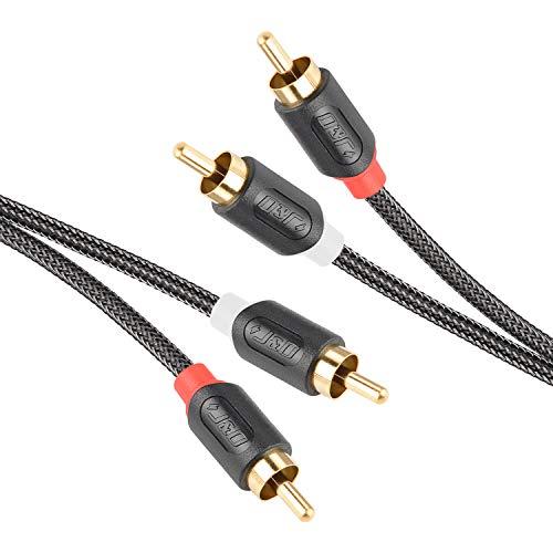 J&D 2RCA to 2RCA Cavo, RCA Cable Oro-Placcato [Serie AudioWave] 2RCA Maschio a 2 RCA Maschio Cavo Audio Stereo con PVC Sgusciato e Nylon Treccia - 0.9 Meter