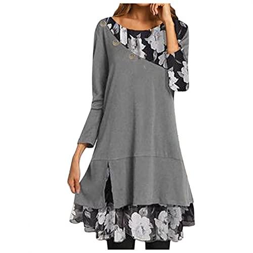 GFGHH Vestido de mujer de manga larga, cuello alto, túnica, sudadera, blusa suelta para mujer, tallas grandes, vestido de punto, cuello redondo, largo hasta la rodilla, estilo informal., gris, M