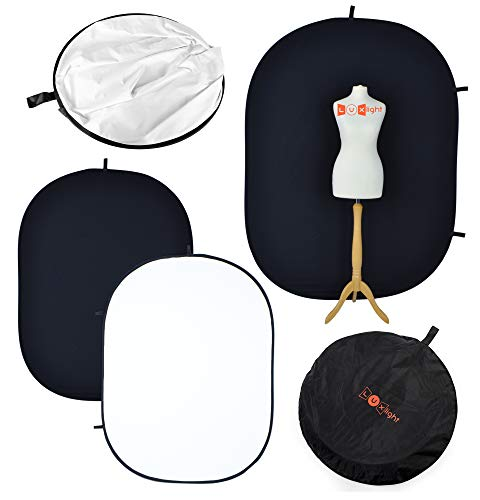 Fondo para fotografías PhotoGeeks 2m x 1,5m, Blanco y Negro, Plegable y Reversible, 100% algodón de Muselina