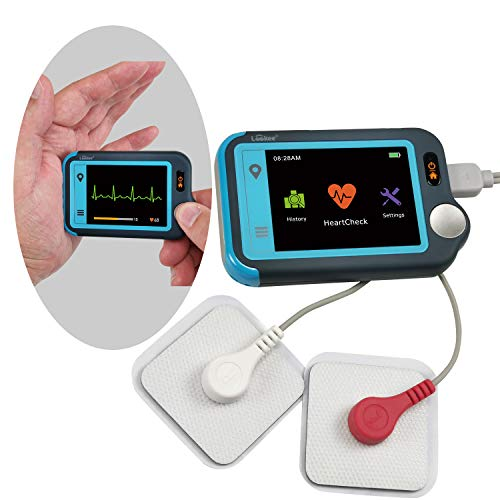 LOOKEE ECG / EKG Heart Monitor | Personal Wireless Heart Rate Tracker | Color Touch Screen | Cable or Cable Free Recording in 30s/60s/5Min | Helps Detect Heart Abnormalities On The Go | Free Apps for Mobile and PC with Report | Wellness and Sport Use Only