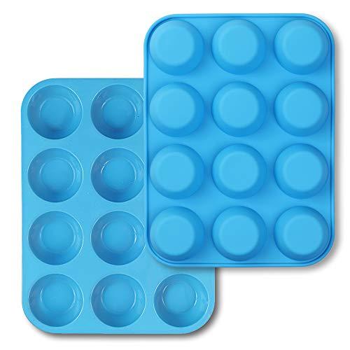 homEdge Muffin in silicone da 12 tazze, confezione da 2 stampini antiaderenti, teglia per cupcake, crostate, punture di uova-blu