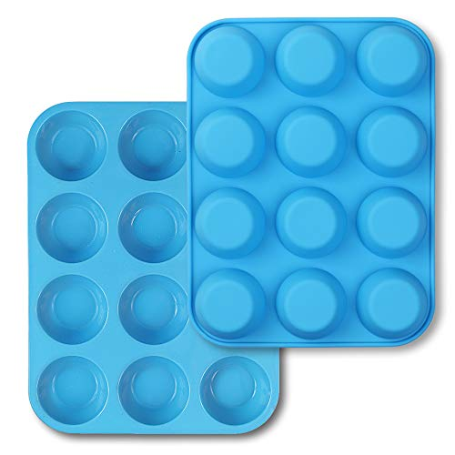 homEdge 12-Cup Silicone Muffin Pan, Pack of 2 Non-Stick Muffin Molds, Baking Pan for Cupcake, Tarts, Egg Bites-Blue