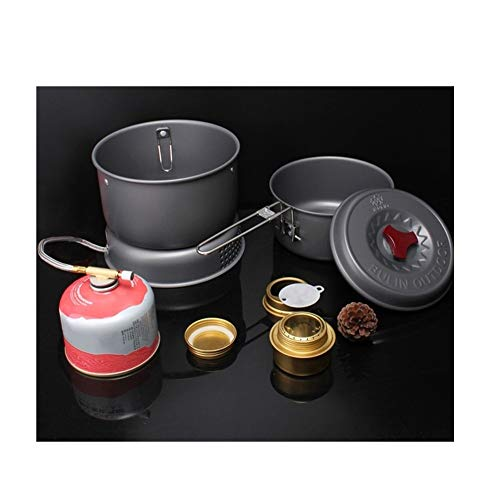 5 PCS Outdoor Camping Cooking Set Portable Cookware Cookout Utensil Gas Stove Set Windproof Boiler Cradle Pots for 1-2 Person
