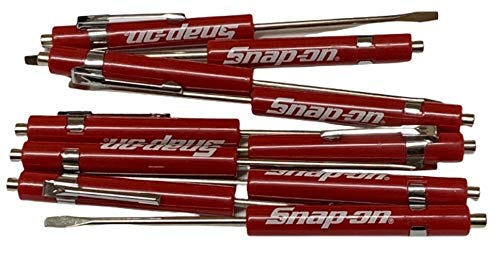 COLIBROX (10) TEN Snap on Pocket Screwdriver, Flat Tip Screwdrivers, RED ~ Magnetic .NEW. R86855