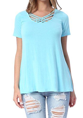 Levaca Womens Short Sleeve Cross Front Loose Fashion Blouse Tops Sky Blue L