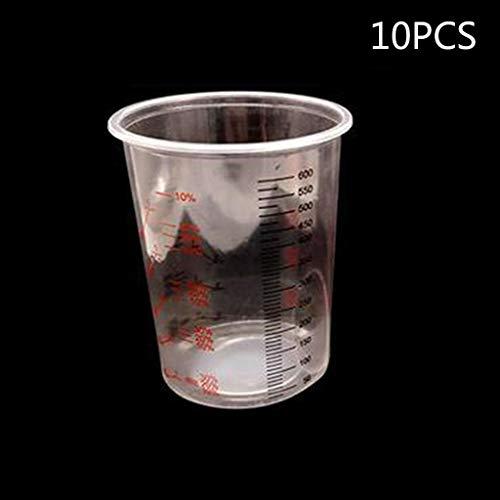 Haptian 10Pcs Plastikfarbe Mischbecher 600ml Mischtopf Farbe Mischen Kalibrierter Becherset