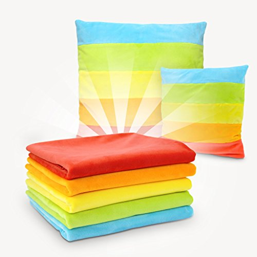 kullaloo Stoffpaket Regenbogen 5 Farben à 60x75 cm, inkl. Schnittmuster für Streifenkissen