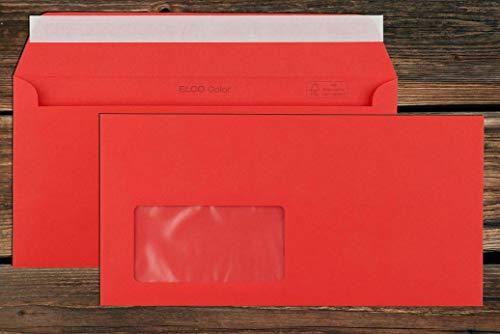 Rote Elco Color Briefumschläge mit Fenster (lasertauglich) / 114 x 229 mm (DL) / mit Abziehstreifen/haftklebend / 250 Stück