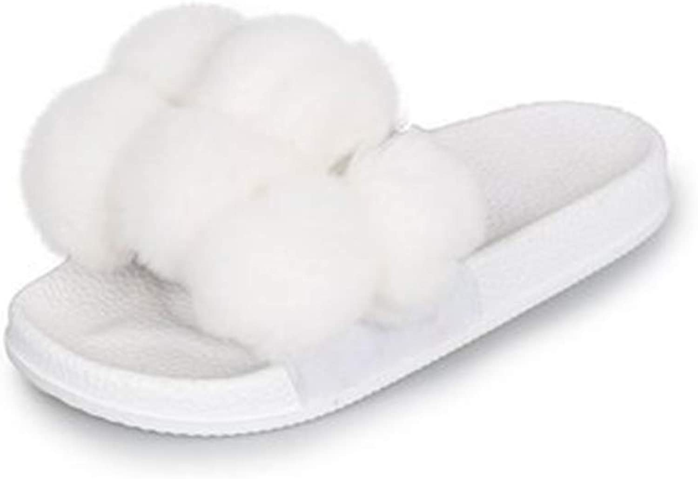 Super color Women's Flip Flop Faux Fur Slip-on Soft Slide Flat Slipper