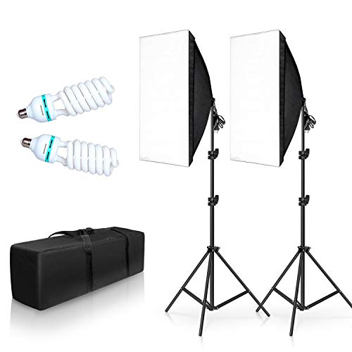 "SH 2 Set 20""X28"" Softbox Photography Lighting Kit,135W Continuous Lighting SystemPhoto Studio Equipment ,E27 Photo Model Portraits Shooting Box"