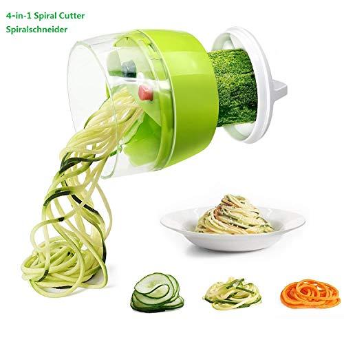 Fun Life Gemüseschneider Spiralschneider Gemüsehacker, Obstschneider, Kartoffelschneider, Zwiebelschneider, Food Dicer für Nudeln Zucchini Gurke Karotten Kürbis Zwiebel (4 in 1)