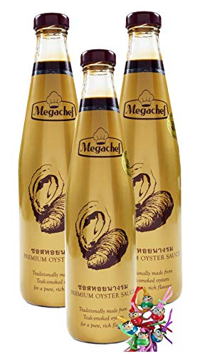 yoaxia ® - 3er Pack - [ 3x 600g ] Megachef PREMIUM OYSTER SAUCE [ glutenfrei ] - Austernsauce - 45% Auster + ein kleines Glückspüppchen - Holzpüppchen