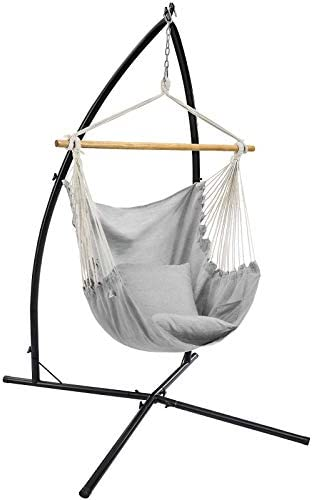 SONGMICS Hammock Chair with Stand Large Swing Chair with 2 Cushions Hanging Chair Stand Holds product image