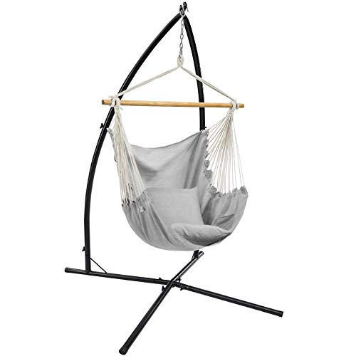 SONGMICS Hammock Chair with Stand, Large Swing Chair with 2 Cushions, Hanging Chair Stand, Holds up to 264 lb, for Balcony, Patio, Terrace, Gray UGDC189G01