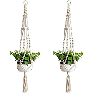 2 Pack Macrame Plant Hangers Indoor Outdoor Flower Hanging Basket Hanging Plant Holder for Decorations Hemp Rope 4 Legs …