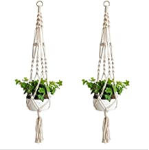 2 Pack Macrame Plant Hangers Indoor Outdoor Flower Hanging Basket Hanging Plant Holder for Decorations Hemp Rope 4 Legs …